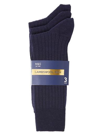 Marks & Spencer 3'lü Çorap Lacivert